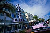 Art deco hotel and vintage car, Art Deco District, Miami, Florida USA, America