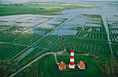Lighthouse, aerial view, Westerhever North Sea