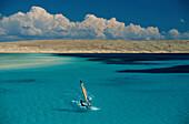 Sailboarder under blue sky, Hurghada, Egypt, Africa