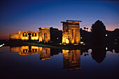 Temple of Debod, an ancient Egyptian temple at night, Parque del Oeste Madrid, Spain