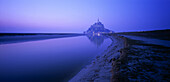 Mont St. Michel on a foggy night, Normandy, France