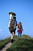 Traditional Bavarian musician with tube, Bavaria, Germany