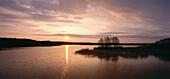 Idyllic lake at sunset, Masuric lake district, Masuria, Poland