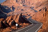 Lonesome country road in the mountains, Valle de la Luna, Atacama desert, Chile