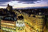Gran Via, Edificio Metropolis, Metropolis-Gebäude, Madrid, Spanien