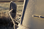 hoar frost on abandoned car side mirror and window