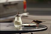 Fruehstueckstisch mit Vogel