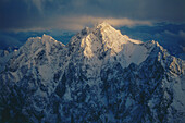 Snowy mountain peak in sunlight, View from Zugspitze, Bavaria, Germany, Germany