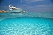 Yacht in the sunlight, Sardinia, Italy, Europe