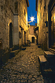 Alley at the old town at night, Brittany, France, Europe
