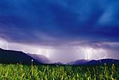 Lightnings of a thunderstorm, Wetterstein Mtn., Werdenfelser Land, Upper Bavaria, Germany