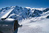 View of the mountains over the jet engine, DC-3 Tour aerial tour, Southern Alps, New Zealand