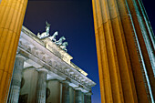 The Quadriga on the Brandenburg Gate at night, Berlin, Germany