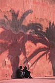 Shadow of a palm tree on the city wall, Essaouira, Morocco
