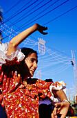 Flamenco dancing girl, Feria del Caballo, festivity, Jerz de la Frontera, Province of Cadiz, Andalusia, Spain