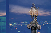 Statue on capital with cityscape, Athens, Greece