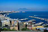 View over Mergellina marina in a bay, Vesuvius volcano in the background, Naples, Campania, Italy, Europe