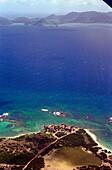 Aerial view of coastline and ocean, Anguilla, Caribbean, America
