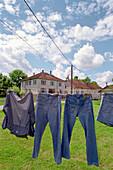 Washing hanging on clothesline, Vogesen, France