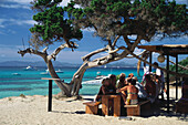 People at a beach bar, De Ilettes, Formentera Balearic Islands, Spain, Europe