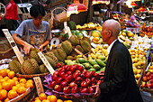 People at a market stand with fruit, Hongkong, China, Asia