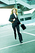 Business woman, people running
