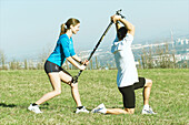 Excercising couple, people sport