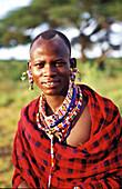 Massai in kenia, people men with jewellery