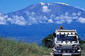 People on safari, landscape people in jeep