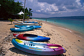 Kayaks on Beach, Hideaway Island Resort, Vanuatu South Seas