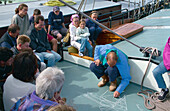 Skipper Peter ter Laak is explaining the ship, Ameland, Wadden Sea Netherlands