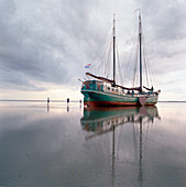 Pelikaan, Flat bottom wooden Sailboat, Ameland, Wadden Sea Netherlands