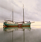 Pelikaan, Flat Bottom wooden Sailingboat, Ameland, Wadden Sea Netherlands