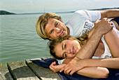 Bathing People, Young bathing heterosexual couple, Starnberger See, Bavaria