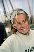 Girl's portrait at a harbour, Holland