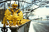 Fence with golsen emblem, St. Petersburg, Russia