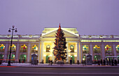 Christmas tree in front of Gostinyi Dwor Shopping Arcade in the evening, St. Petersburg, Russia, Europe
