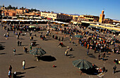 People on the market place, Jemaa El Fna, Marrakesh, Morocco, Africa