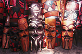 Wooden African masks, Mbabane, Swaziland, South Africa, Africa