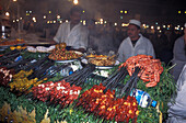 Market stand with food, Jemaa El Fna, Marrakesh, Morocco, Africa