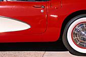 Detail of a red Corvette, Route 66, Arizona USA, America
