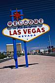 Place-name sign under blue sky, Las Vegas, Nevada, USA, America