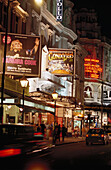 Theatres in the Shaftsbury Avenue in the evening, Soho, London, England, Great Britain