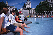 Summer feeling, Trafalgar Square, London, England Great Britain