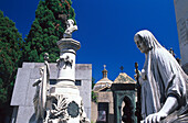 Graves and statues at Recoleto cemetery in the sunlight, Buenos Aires, Argentina, South America, America