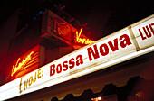 Illuminated neon sign at night, Rio de Janeiro, Brazil, South America, America