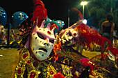 Decorated carnival masks at night, Rio de Janeiro, Brazil, South America, America