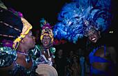Transvestites at a Carnival Parade at night, Rio de Janeiro, Brazil, South America, America