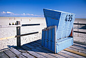 Beach chair at beach, St. Peter Ording, Schleswig-Holstein, Germany