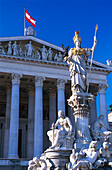 Austrian Parliament Building with Athena fountain, Vienna, Austria